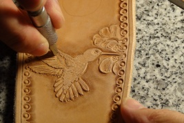 Hand Drawn, Carved and Tooled and Carved Hummingbird Design by C.T. Strickland Jr