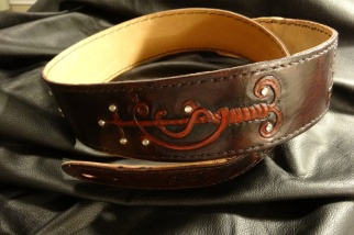 Custom Hand Drawn and Carved Designs finished in Dark Mahogany with High Contrast Dye