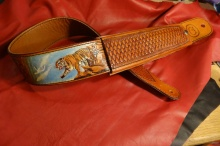 Custom Carved Tiger Dyed in Living Color with Basket Weave Stamped Adjuster Sleeve and Balance of Strap