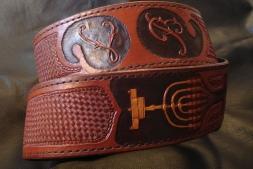 Custom Guitar Strap with Hand Carved Monogram, Menora, and Stamped Basket Weave Design