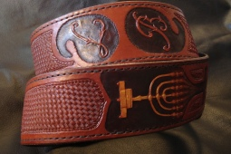 Custom Guitar Strap with Hand Carved Monogram, Menora, and Stamped Basket Weave Design
