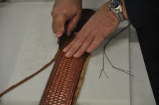 Trimming the Edge of Leather Lining on a Custom Strap after Glue and Sitched Assembly