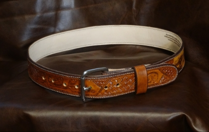 Handtooled Traditional Full Grain Leather Belt with Stainless Steel Buckle