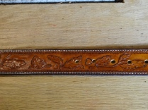 Handcarved Arizona Oak Design on Full Grain Leather Belt