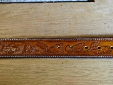 Handcarved Arizona Oak Design on Full Grain Leather Belt