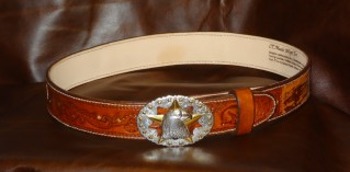 Custom Western Handtooled Leather Belt featuring Silver Eagle with Gold Star