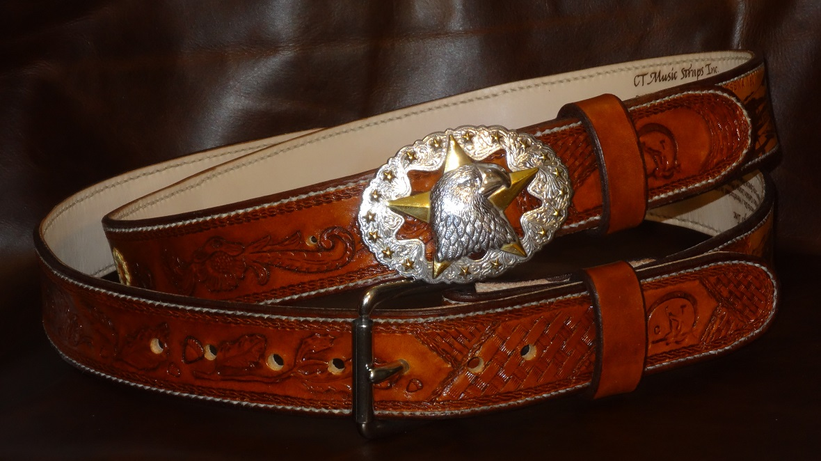 His and Hers Western Handtooled and Stitched Full Grain Leather Belts