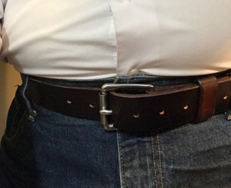 Standard Handcrafted Full Grain Leather Work Belt with Stainless Steel Buckle