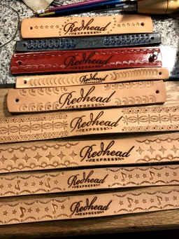 Headstraps and Wriststraps handtooled with laser engraved Logos