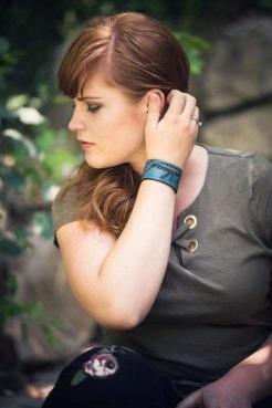 Meghan Walker, Redhead Express modeling her wriststrap