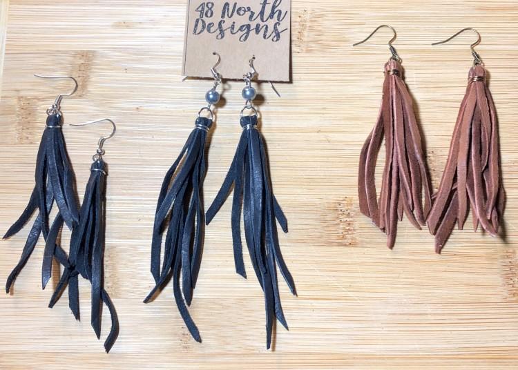 Leather Fringe Earring Set